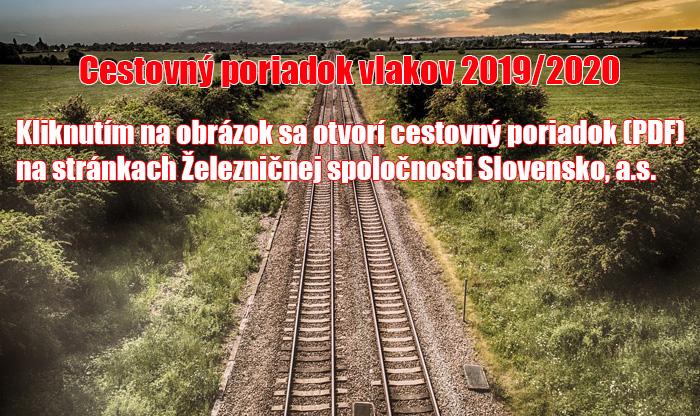 Cestovný poriadok vlakov 2019/2020