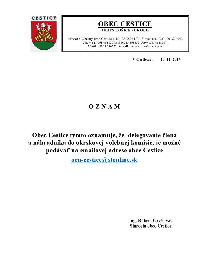 OZNAM - delegovanie člena anáhradníka do okrskovej volebnej komisie